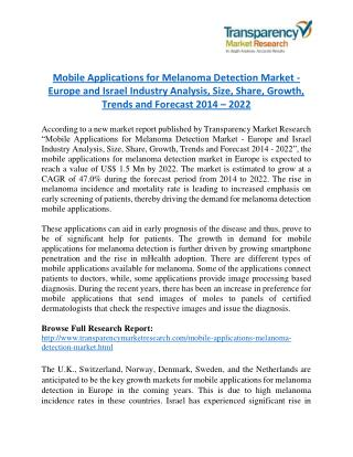 Mobile Applications for Melanoma Detection Market will rise to US$ 1.5 Million by 2022