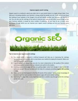 Improve Organic Search Engine