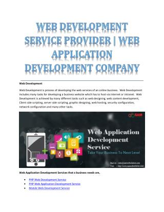 WEB DEVELOPMENT SERVICE PROVIDER | WEB APPLICATION DEVELOPMENT COMPANY