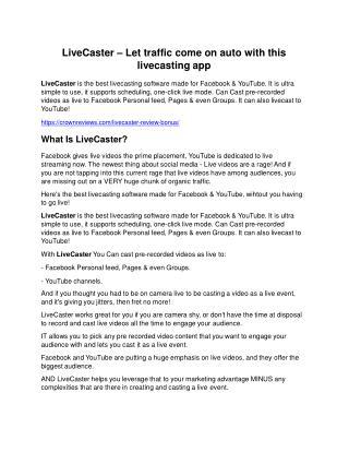LiveCaster review & (GIANT) $24,700 bonus NOW