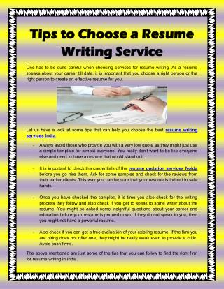 Tips to Choose a Resume Writing Services