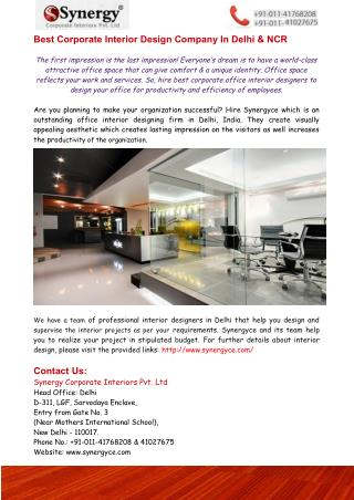 Best Corporate Interior Design Company, In Delhi & NCR – Synergyce