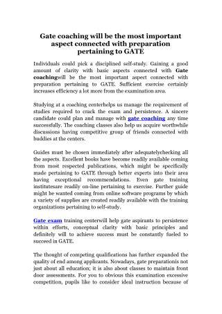 Gate coaching classes in bangalore
