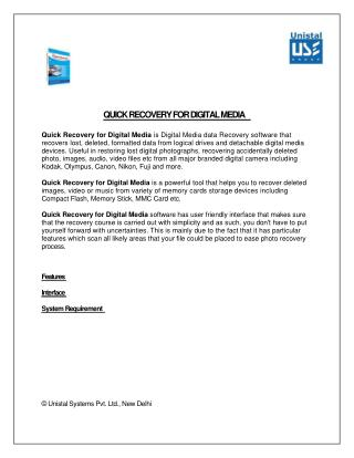 White Paper of Unistal Quick Recovery For Digital Media