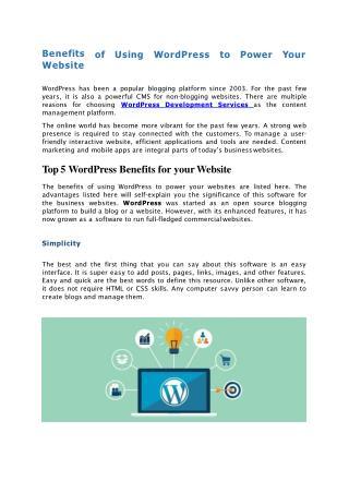 Benefits of Using WordPress Platform to Power Your Website