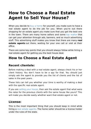 How to Choose a Real Estate Agent to Sell Your House?