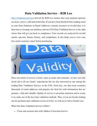 Data Validation Service – B2B Leo