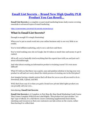 Email List Secrets Review - (FREE) Bonus of Email List Secrets