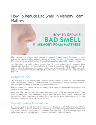How To Reduce Bad Smell in Memory Foam Mattress