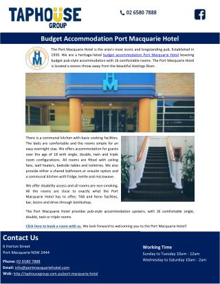 Budget Accommodation Port Macquarie Hotel