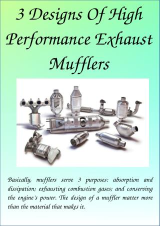 3 Designs Of High Performance Exhaust Mufflers