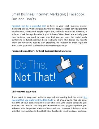 Small Business Internet Marketing | Facebook Dos and Don'ts