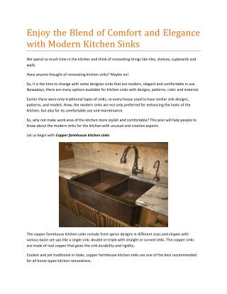 Enjoy the Blend of Comfort and Elegance with Modern Kitchen Sinks
