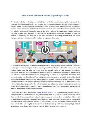How to Save Time with Phone Appending Services