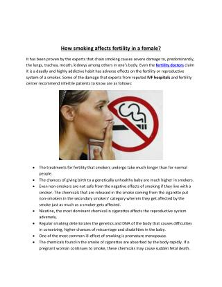 How smoking affects fertility in a female?
