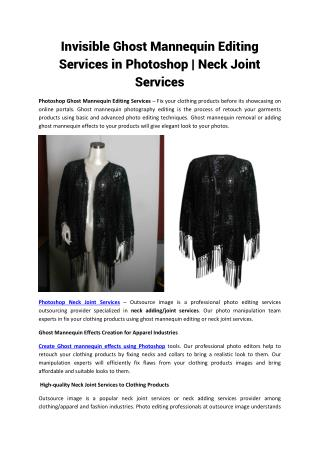 Invisible Ghost Mannequin Editing Services in Photoshop | Quality Neck Joint Services