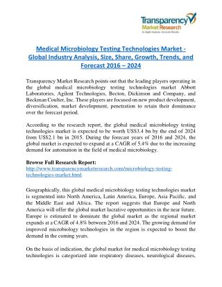 Medical Microbiology Testing Technologies Market is expanding at a CAGR of 5.4% from 2016 to 2024