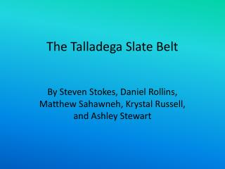 The Talladega Slate Belt
