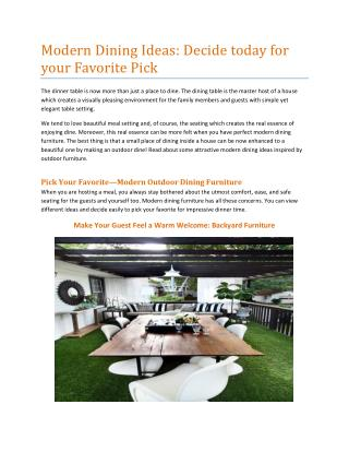 ODERN OUTDOOR FURNITURE FOR YOUR HOME