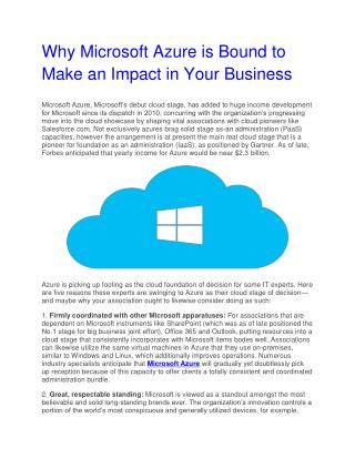 Why Microsoft Azure is Bound to Make an Impact in Your Business
