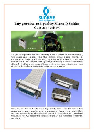 Buy Genuine and Quality Micro-D Solder Cup Connectors
