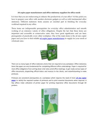 A4 copier paper manufacturers and office stationery suppliers for office needs