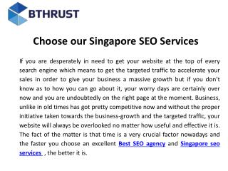 Choose our Singapore seo services