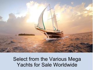 Select from the Various Mega Yachts for Sale Worldwide