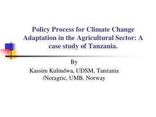 Policy Process for Climate Change Adaptation in the Agricultural Sector: A case study of Tanzania.