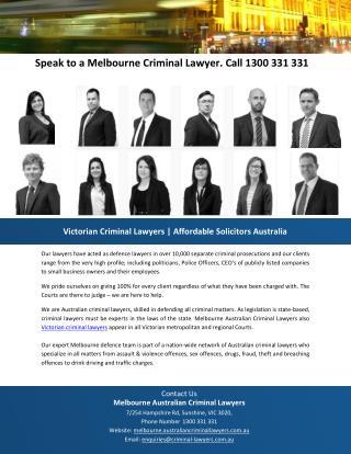 Speak to a Melbourne Criminal Lawyer