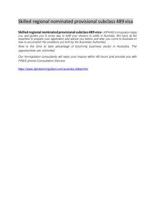 skilled regional nominated provisional subclass 489 visa