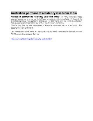 australian permanent residency visa from india