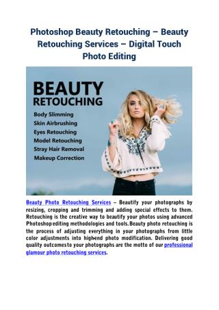Photoshop beauty retouching – beauty retouching services – digital touch photo editing