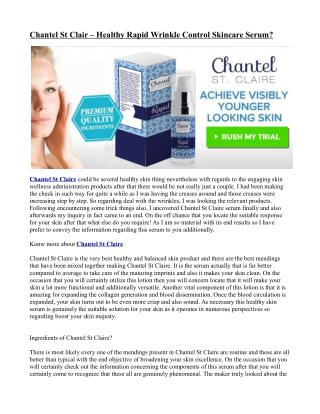 Chantel St Claire Product active ingredients!