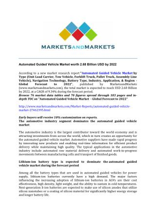 Automated Guided Vehicle Market worth 2.68 Billion USD by 2022