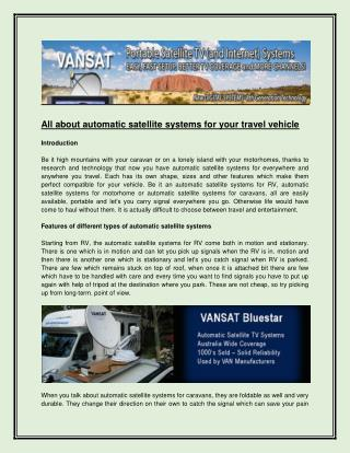 All about automatic satellite systems for your travel vehicle