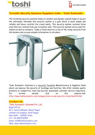 Turnstile Security Systems Suppliers India