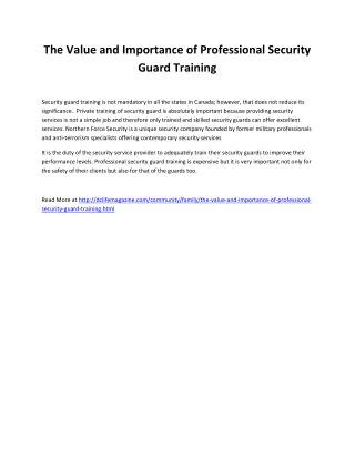 The Value and Importance of Professional Security Guard Training