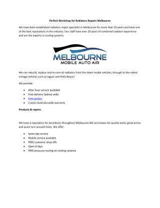 Perfect Workshop for Radiators Repairs Melbourne