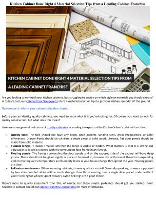 Kitchen Cabinet Done Right: 4 Material Selection Tips from a Leading Cabinet Franchise