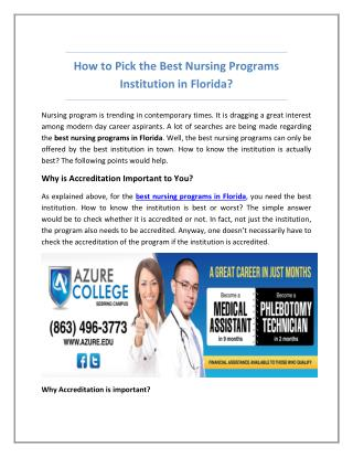 How to Pick the Best Nursing Programs Institution in Florida?
