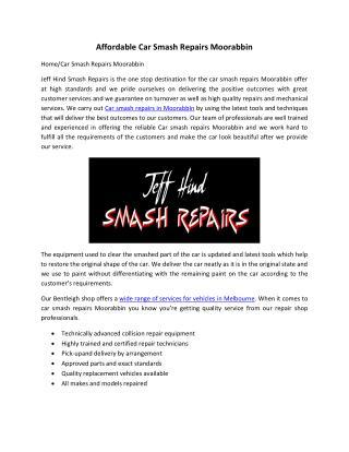 Affordable Car Smash Repairs Moorabbin