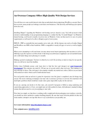 An Overseas Company Offers High Quality Web Design Services