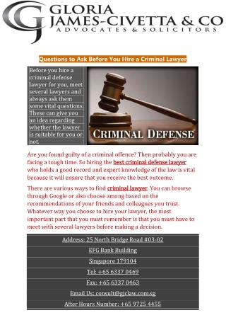 Questions to Ask Before You Hire a Criminal Lawyer