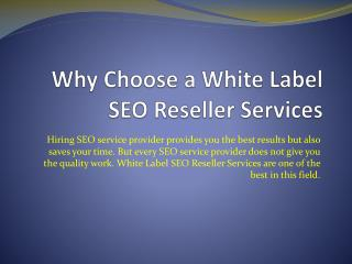 Why Choose a White Label SEO Reseller Services