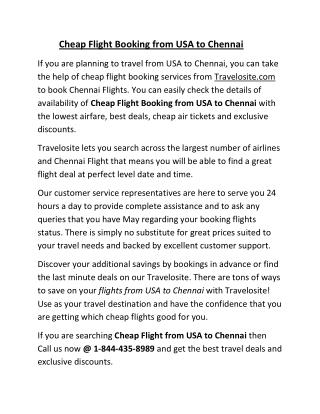 Cheap Flight Booking from USA to Chennai