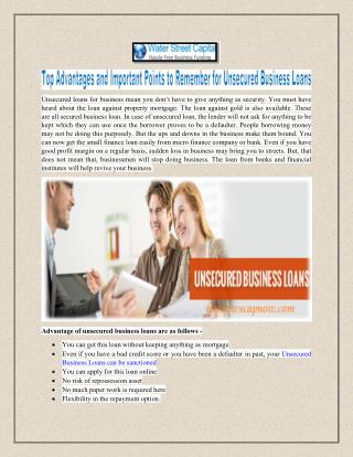 Top advantages and important points  to remember for unsecured business loans