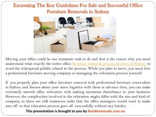 Excavating The Key Guidelines For Safe and Successful Office Furniture Removals in Sydney