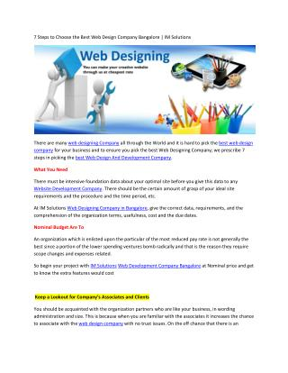 7 Steps to Choose the Best Web Design Company Bangalore | IM Solutions