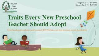 Traits Every New Preschool Teacher Should Adopt